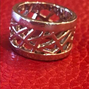 Lia Sophia Wide SS Contemporary Ring Size 8